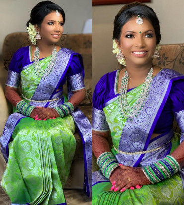 00KANCHI3900PERU60 - Lime green kanchipuram silk saree in violet border