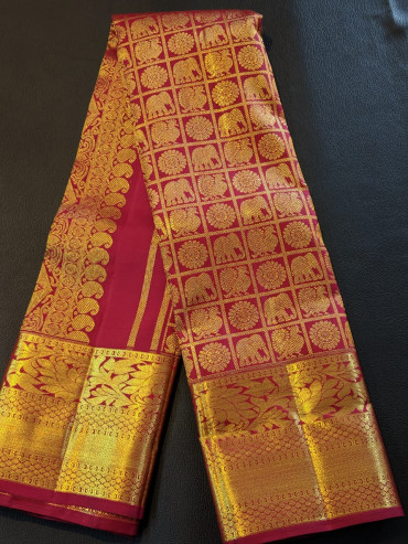 000BRID4006130KAN2 - Maroon wedding silk saree in peacock elephant chakra design
