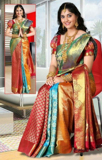 000BRID40061 - Multi colour partly design wedding silk saree