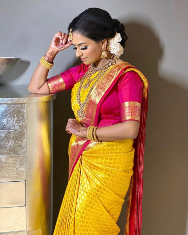 00KANCHI3900PERU61 - Mustard kanchipuram saree in maroon pink border
