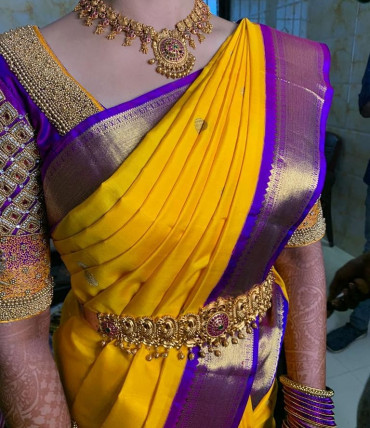 00KANCHI3900PERU51 - mustard yellow kanchipuram saree in purple border