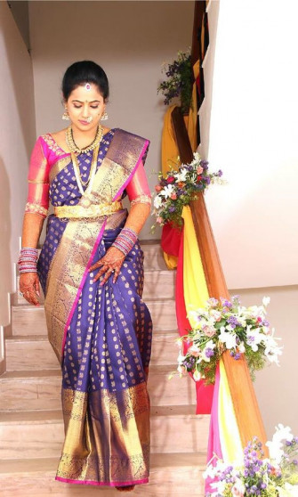 000KANCHI3500PERU19 - Navy blue kanchipuram saree in big border