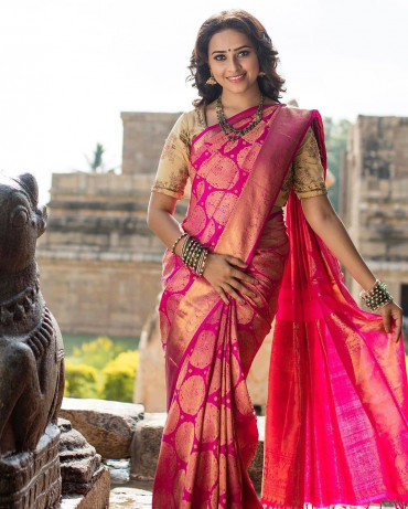 000998 Rose wedding silk saree