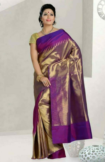 000BRID4003TEMPURPLE - Purple temple raising border wedding silk saree