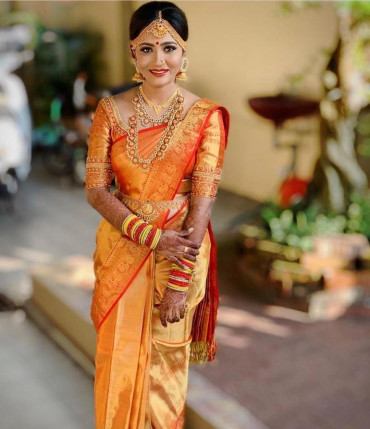 00KANCHI3900PERU19 - Reddish gold  kanchipuram saree