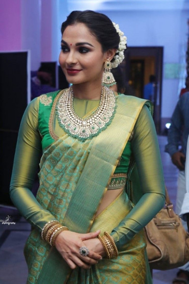 000KANCHI3900PERU12 - Rexona green tissue kanchipuram silk saree