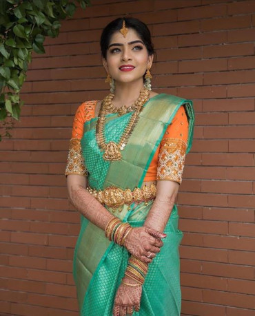 000BRID4006130PERU13 - Rexona green wedding saree in brocade design