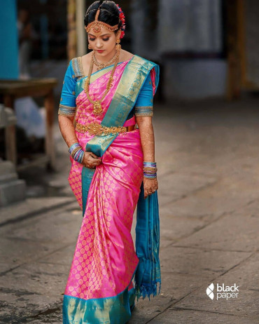00KANCHI3900PERU32 - Rose kanchipuram silk saree in ananda blue border