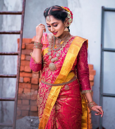 00KANCHI3900PERU3 - Rose kanchipuram saree in mustard border