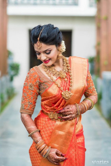 00KANCHI3800KAN5 - Rust orange kanchipuram saree in gold border