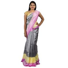 0Uppada saree in grey colour  :ABHUP005