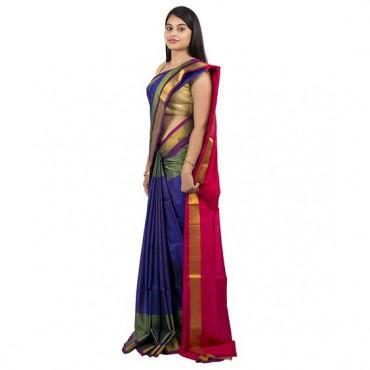 0Uppada saree in blue colour  :ABHUP002