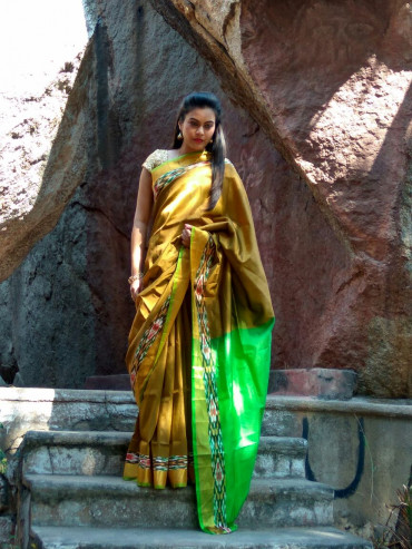 003AB37847 - Mustard Uppada saree in green palllu