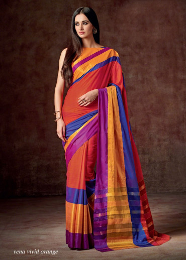 0Cotton Saree :Vena Vivid Orange