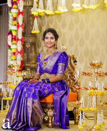 000997 Violet indian wedding saree