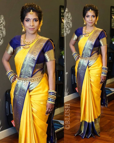 000KANCHI3500PERU1 - Yellow kanchipuram silk saree in navy blue 6 inches border