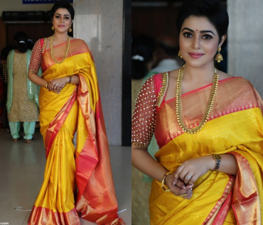 000KANCHI3500PERU20 - Yellow kanchipuram silk saree in red border