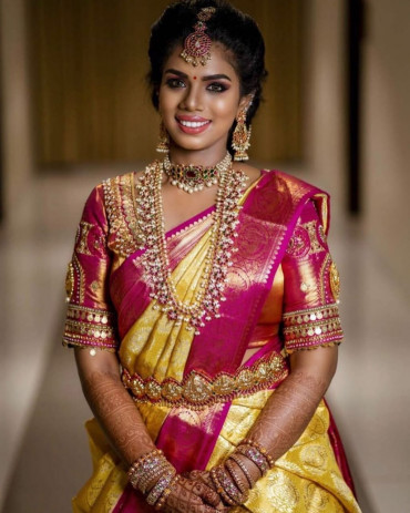 000KANCHI3900PERU46 - yellow tissue kanchipuram saree in rose gold zari border