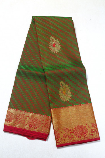 000PATTU5083PONNU - green and barn red pattu saree