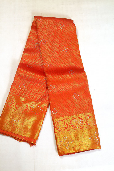 000BRID5022AKM - reddish orange wedding silk saree