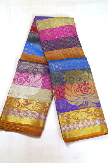 000BRID5029AKM - multi colour bridal saree in stone work