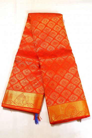 000BRID5032AKM - orange wedding saree with gold border