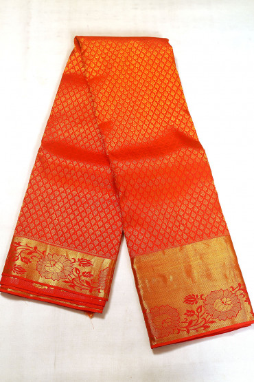000BRID5035AKM - red bridal silk saree with gold border