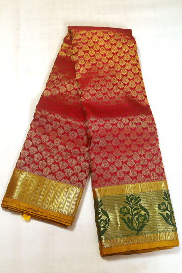 000BRID5038AKM - maroon wedding silk saree with mustard border