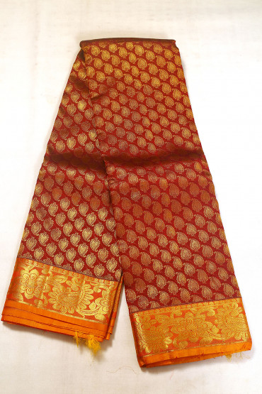 000BRID5040AKM - maroon and mustard gold wedding saree