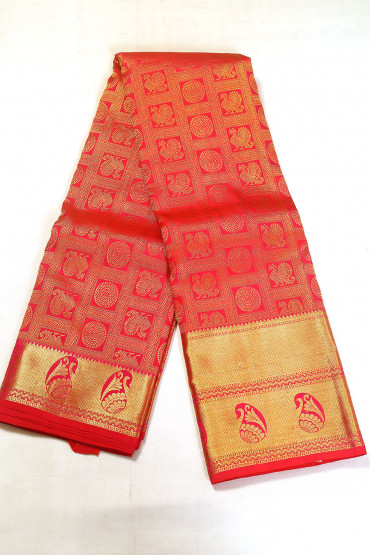 00BRID5129AKM - reddish maroon wedding silk saree