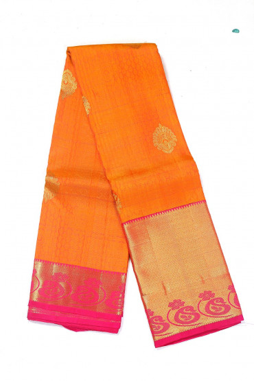 000BRID4579PONNU - Rusty orange and pink wedding silk saree