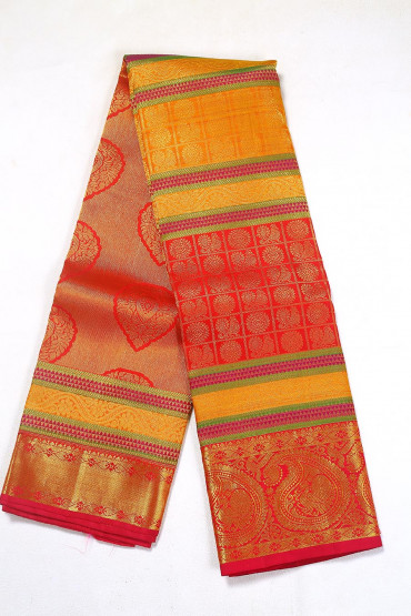 000BRID4586PONNU - Red and mustard wedding silk saree
