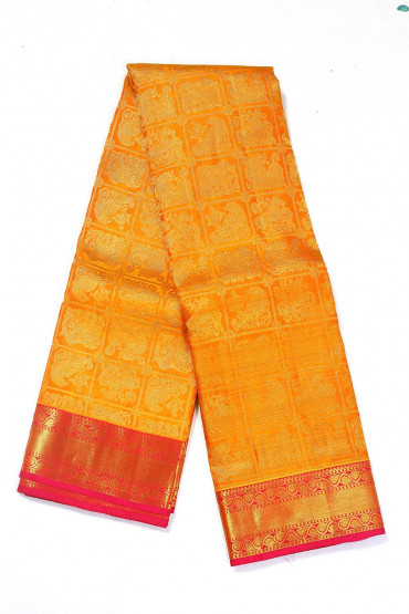 000BRID4588PONNU - mustard and pink wedding silk saree
