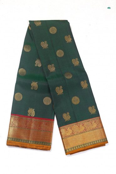 000BRID4591PONNU - Bottle green bridal silk saree