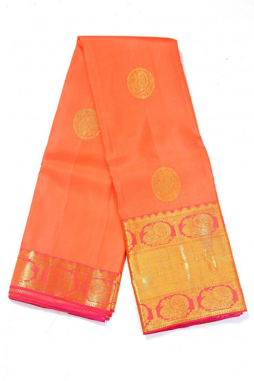 000BRID4592PONNU - Rusty orange wedding  silk saree