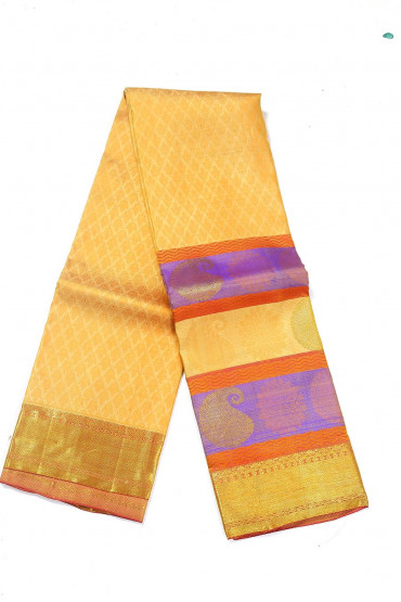 000BRID4593PONNU - Sandle wedding silk saree with gold border