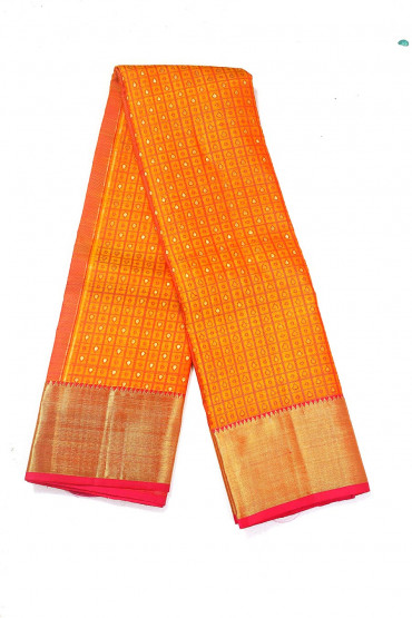000BRID4594PONNU - Rusty orange bridal silk saree