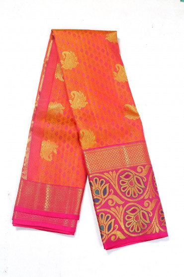 000BRID4600PONNU - Orange and pink wedding silk saree