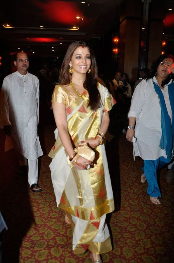 aishwarya rai in white and gold wedding saree