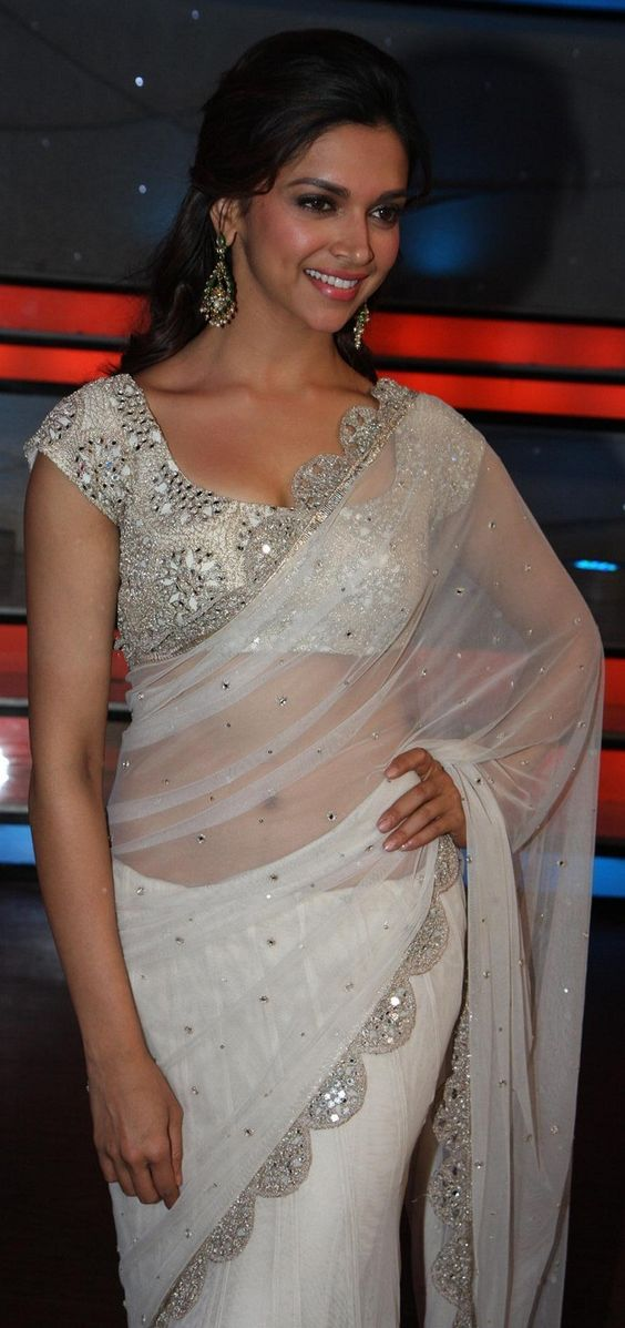deepika white saree with embroider blouse