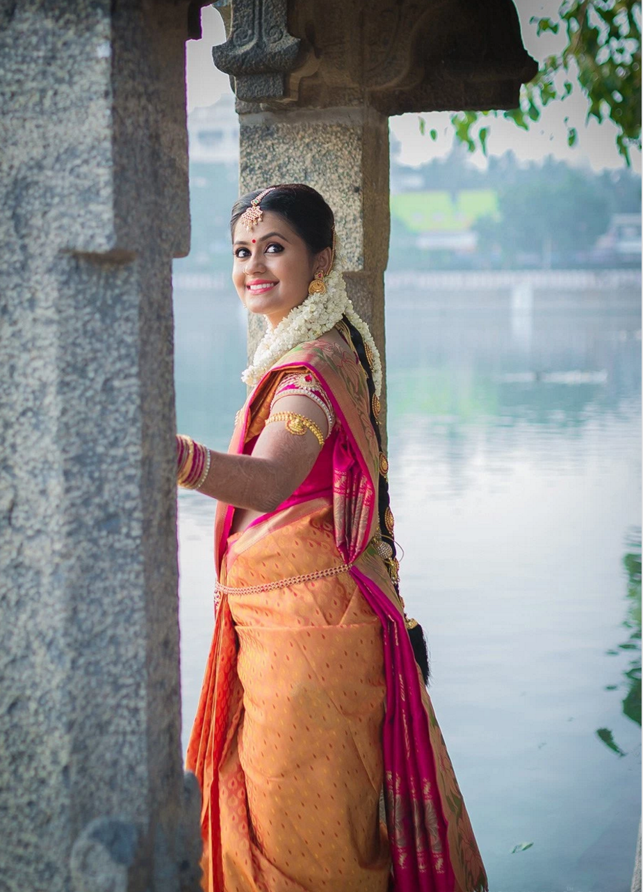 orange fanta wedding saree