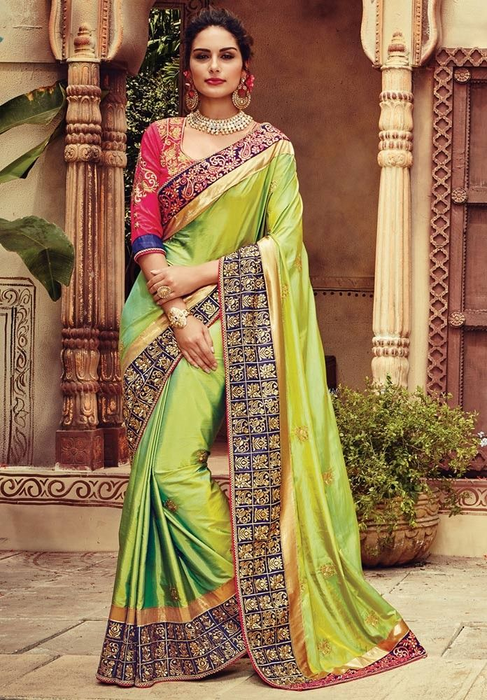 parrot green wedding saree picture