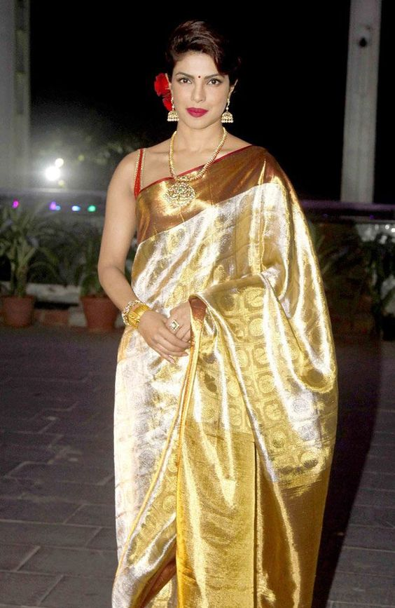 silver gold zari wedding silk saree