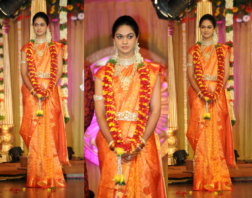 sneha reddy wedding silk saree