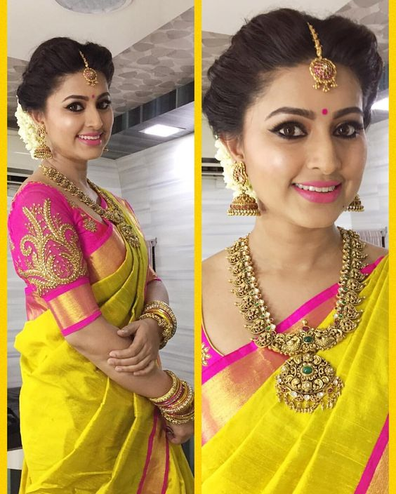 sneha yellow wedding saree