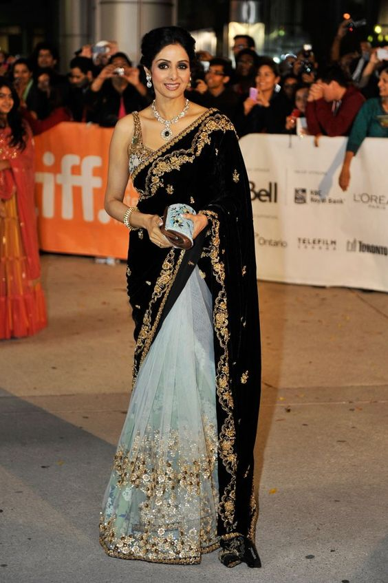 sridevi black and white wedding saree
