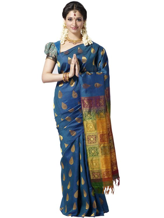 tamanna in peacock blue kanchipuram silk saree