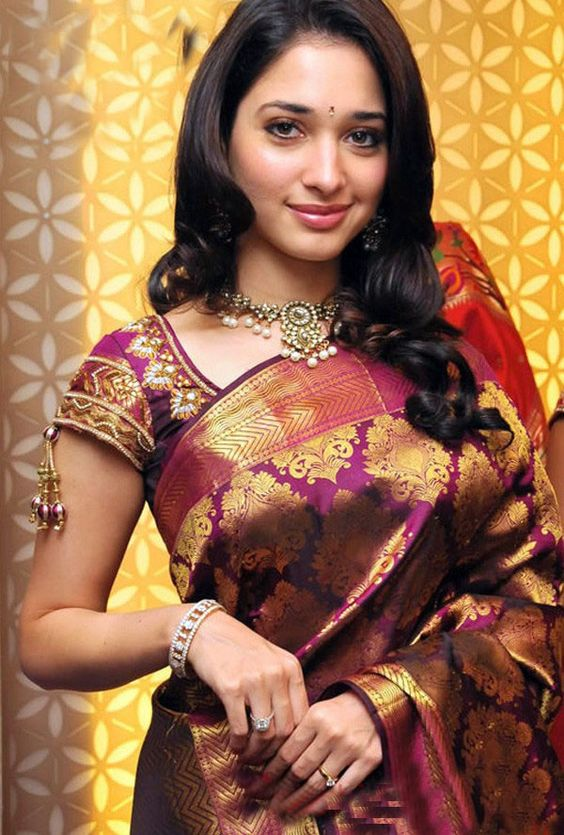 tamanna in purple kanchipuram silk saree with trendy blouse design
