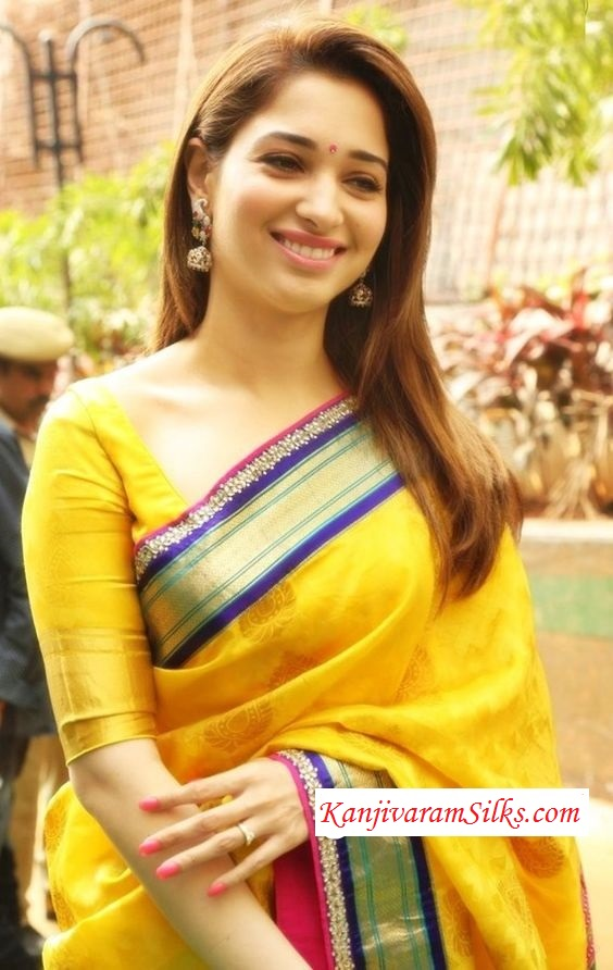 tamanna in yellow kanchipuram silk saree with yellow blouse