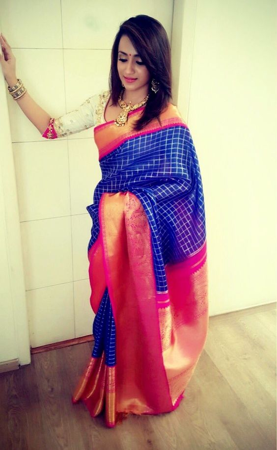 trisha in royal blue indian wedding saree
